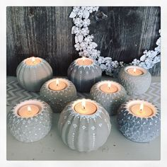 Grey and blue candle light holder  - Sieda Beton