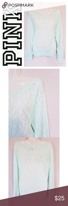 """Victoria's Secret PINK Sheer Mint Lace Tee Victoria's Secret PINK brand sheer mint lace long sleeve top. Pretty layering piece. Excellent pre-owned condition.  Approximate measurements (laying flat): Bust - 38"""" Length - 24"""" PINK Victoria's Secret Tops Tees - Long Sleeve"""