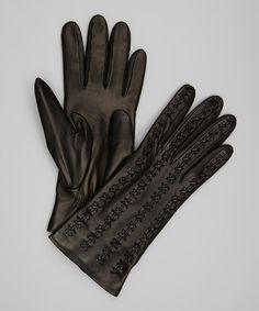 830d0a4974b Take a look at this Black Stitch Leather Gloves by Portolano on  zulily  today!