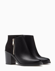 Black leather ankle boots <3