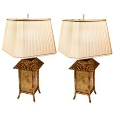 Pair of Mid-Century Brass & Wood Pagoda Lamps : On Antique Row - West Palm Beach