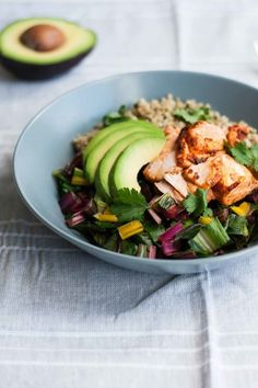 Baked Chipotle Salmon with Freekeh, Chard, and Avocados | 17 Healthy Lunches For People Who Hate Salad