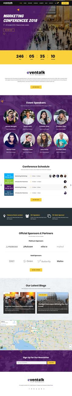 EvenTalk is a superb, contemporary, and the most flexible event and conference WordPress theme. It comes with 12 homepages, half of which are multi-page and the rest one-page. This variety takes care of those who want a one-page website and those who prefer a multi-page one. All these variations have one thing in common – they give you a gorgeous and professional website, on which all your events and conferences will stand out. Professional Wordpress Themes, Professional Website, One Page Website, Wordpress Plugins, Conference, Rest, Things To Come, Events, Contemporary