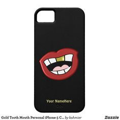 Shop Gold Tooth Mouth Personal iPhone 5 Case created by kahmier. Iphone 5 Cases, 5s Cases, Iphone Se, Apple Iphone, Tooth Cartoon, Gold Teeth, Plastic Case, Colorful Backgrounds, Cool Designs
