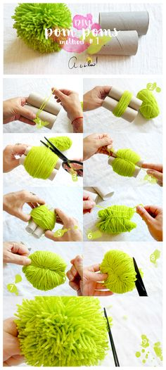 Diy Crafts Hacks, Diy Home Crafts, Creative Crafts, Diy Craft Projects, Yarn Crafts For Kids, Crafts To Do, How To Make A Pom Pom, Pom Pom Crafts, Crafty Craft