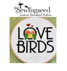 INSTANT DOWNLOAD, Love Birds Cross Stitch Pattern