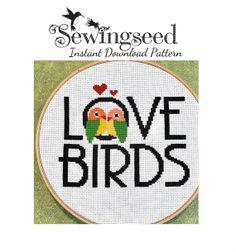 INSTANT DOWNLOAD, Love Birds Cross Stitch Pattern