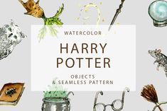 Watercolor Harry Potter Objects by Kind Illustration on @creativemarket