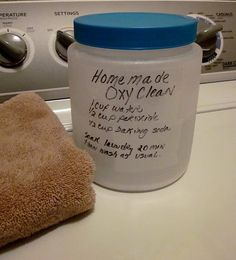 Homemade Oxy Clean Stain Remover    1 Cup Water    1/2 Cup Peroxide    1/2 Cup Baking Soda    Soak Laundry For 20 Mins Then wash as normal.