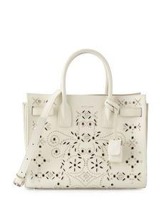 L0N65 Saint Laurent Sac de Jour Bandana-Studded Tote Bag, White