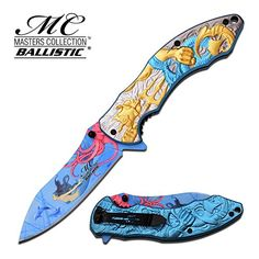 Master Collection Spring Assisted Folding Knife Poseidon Gold MCA027GD  hunting knives military surplus  survival and camping gear ** Click image for more details.Note:It is affiliate link to Amazon. #awesome