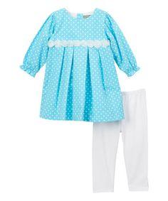 Aqua & White Polka Dot Dress & Leggings - Infant & Kids