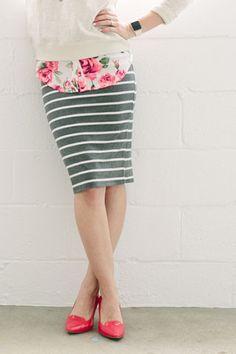 Favorite Skirt - Grey Stripe