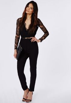 Black Jumpsuit With Lace Formal Jumpsuit c82d3b2609da