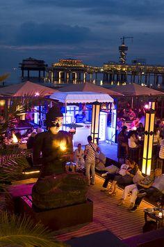 A shot at night, Peukie Beach Club, Scheveningen, Strandtent, Netherlands