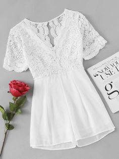2823d33a367 Shop Lace Panel Scalloped Trim Open Back Romper online. ROMWE offers Lace  Panel Scalloped Trim Open Back Romper   more to fit your fashionable needs.