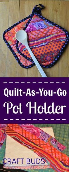 Sewing Craft Project Quilt-As-You-Go Pot Holder - Craft Buds Quilting Tips, Machine Quilting, Quilting Projects, Potholder Patterns, Quilt Patterns, Sewing Patterns, Pot Holder Crafts, Pot Holders, Quilt Tutorials