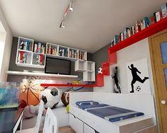 Z prośbą o pomoc w aranżacji pokoju zgłosiła się do nas mama dwóch chłopców. Pokój w kształcie prostokąta o wymiarach 2,7x3,6 m to zdecydowania zbyt mała przestrzeń dla dwójki dorastających… Flat Screen, Loft, Bed, Furniture, Home Decor, Blood Plasma, Decoration Home, Stream Bed, Room Decor