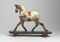Running Horse Pull Toy - Hand Carved and Patinated Wood and Papier Mache, With Leather Ears and Harness Details, English, c.1870