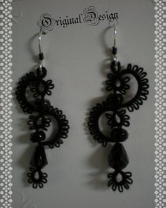 Neo Victorian Black Beaded Tatted Lace Earrings