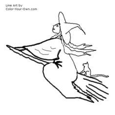 Witch On A Broomstick Coloring Page