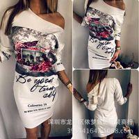 Hot New 2016 Women burst paragraph Summer fashion popular personality printing loose oblique shoulder Mini Dress Mujer Vestidos
