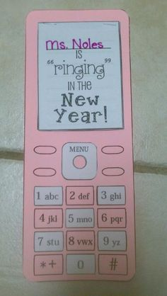 """We made our """"Ringing"""" in the New Year (with Resolutions) Cell Phones! (The """"screen"""" has 5 additional pages for each resolution the student added! My kids loved them!"""