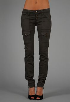 Rich & Skinny Cargo Legging Jean in Dark Moss - from Rich and Skinny