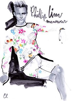 Stunning fashion illustration by Marc-Antoine Coulon of a look from the 31 Phillip Lim Spring 2014 collection!