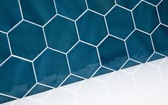 Latitude - Hand Made Wall Tiles - Marlborough Tiles Hague Blue Kitchen, Stiffkey Blue, Bronze Bathroom, Kitchen Walls, Blue Colour Palette, Ensuite Bathrooms, Hexagon Tiles, Hexagons, Kitchens