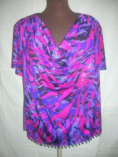 MSK Women Top Size 3X Droop Neckline Beaded Hemline Purple Black Ruby Red Sequin  | eBay