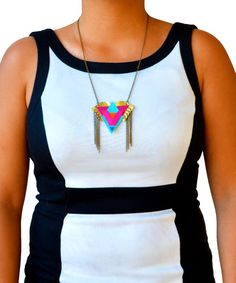 Triangle Pendant Necklace Neon Geometric Boho by BooandBooFactory, $44.00
