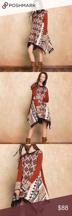 """""""Back Home"""" Blanket Dress if you think my photos are stunning just wait till you get this home, crew neck, acrylics/polyester/nylon/wool blend for ultimate comfort against the skin, pullover style, incredible fringe detailing, tons of vibrant geometric print. Dresses"""