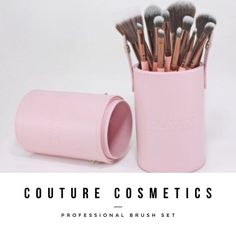 Couture Brush Set 12 brushes in set professional grade. MSRP $85 hypoallergenic brushes. Professional grade set. Comes in container as pictured. Container is pink leather with couture cosmetics brand embossed on side. Couture Cosmetics Makeup Brushes & Tools