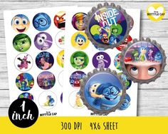 50% OFF SALE Inside out Collage Sheet-1 inch Bottlecap-Printable Image…
