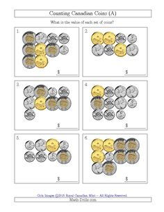 New Counting Canadian Coins (A) Math Worksheet plus several other versions now available. Money Worksheets, Worksheets For Kids, Maths 3e, Money Activities, Winter Activities, Learning Resources, Math Drills, Counting Coins, Math Manipulatives