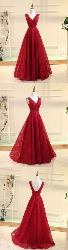 Burgundy v neck lace long prom gown, burgundy evening dress