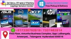 Durga IT Solutions Provides the best laptop service center in Ameerpet, Hyderabad. We will repair all brands of laptops at our laptop store in Hyderabad. Pc Repair, Laptop Repair, Laptop Store, Used Laptops, Apple Laptop, Phone Service, Acer, Hyderabad, Sony