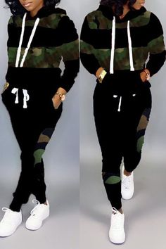 Lovely Casual Patchwork Camouflage Printed Black Two-piece Pants Set online shopping mall, buying fashion dresses & rapid delivery. Start your amazing deals with big discounts! Cute Swag Outfits, Sporty Outfits, Stylish Outfits, Fashion Outfits, Woman Outfits, Steampunk Fashion, Gothic Fashion, Striped Two Piece, Black Two Piece