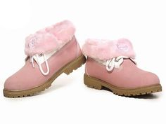 Fashion Winter Timberland Kids Roll Top Boots Pink girl