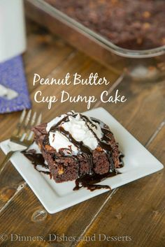 Peanut Butter Cup Dump Cake – Just 4 ingredients come together to make a rich, fudgy, chocolate-y cake studded with lots of peanut butter cups!