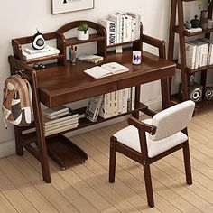 KIMIBen Children's Table Chair Student Learning Desk Solid Wood Desk with Bookshelf Great Gift for Girls and Boys – Best for 6, 7 and 8 Year Olds(No Chair) (Color : Brown, Size : 80X75X110CM), Price: (as of - Details) This table is environment-friendly for safe use, and constructed with solid frame, the kid's desk and chair set ensures great..., h... Desk And Chair Set, Table And Chairs, Bookshelf Desk, Bookshelves, Country Curtains Catalog, Girl Desk, Office Interiors, Interior Office, Solid Wood Desk