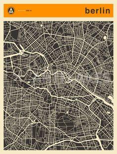 """""""BERLIN MAP"""" Digital Art von Jazzberry Blue jetzt als Poster, Kunstdruck oder Grußkarte kaufen.."""