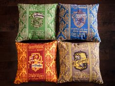 Set of 4 Harry Potter Gryffindor Slytherin Ravenclaw Hufflepuff Hogwarts House Crest Rowling Book Movie Sofa Throw Pillow Case Cushion Cover...