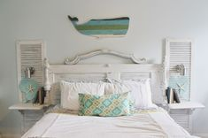Beachy bedroom with door headboard., shutters, and a wooden whale on the wall… Antique Door Headboards, Diy Headboards, Wood Headboard, Headboard Ideas, Nightstand Ideas, Bedroom Themes, Bedroom Decor, Bedroom Ideas, Wall Decor