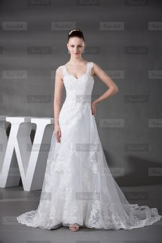Robe de Mariée Longue Blanche Adorable Col en coeur  en Organdi 429