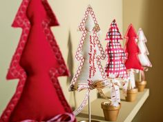 little fabric Christmas tree topiaries