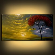 art painting abstract landscape tree cloudscape by mattsart, $375.00