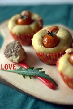 vegan savoury muffins with curry and cherry tomatoes