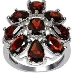 7 1/7 CT TW Garnet Rhodium-Plated Sterling Silver Fashion Ring